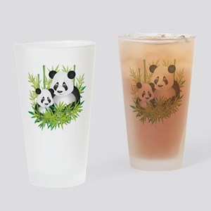 Two Pandas in Bamboo Drinking Glass