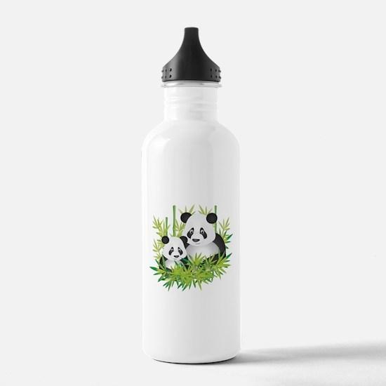 Two Pandas in Bamboo Water Bottle