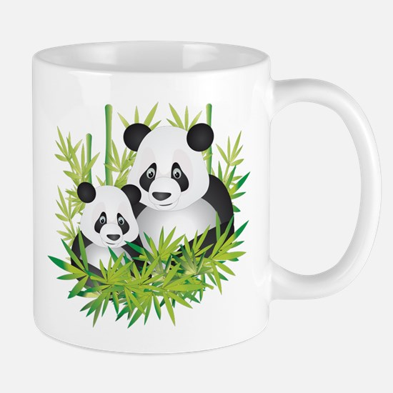 Two Pandas in Bamboo Mugs