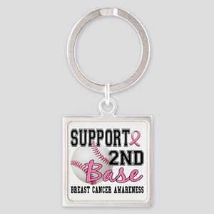- 2nd Base Breast Cancer Square Keychain