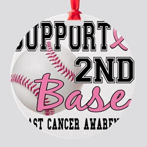 - 2nd Base Breast Cancer Round Ornament