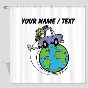 Custom Driving Around The World Shower Curtain