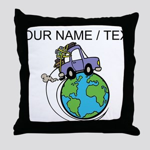 Custom Driving Around The World Throw Pillow