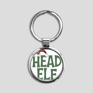 Head Elf Round Keychain
