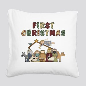 First Christmas Tote Bag Square Canvas Pillow