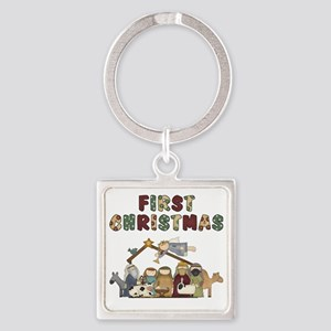 First Christmas Tote Bag Square Keychain
