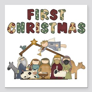 """First Christmas Tote Bag Square Car Magnet 3"""" x 3"""""""
