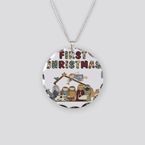 First Christmas Tote Bag Necklace Circle Charm