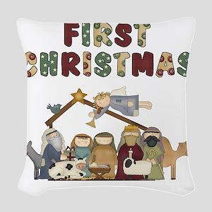 First Christmas Tote Bag Woven Throw Pillow