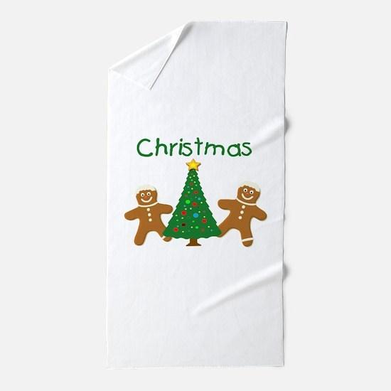 Christmas Gingerbread Men Beach Towel