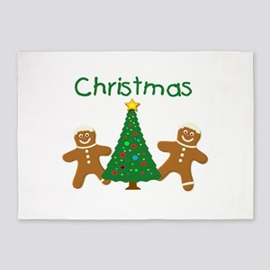 Christmas Gingerbread Men 5'x7'Area Rug