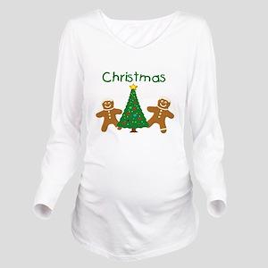 Christmas Gingerbread Men Long Sleeve Maternity T-