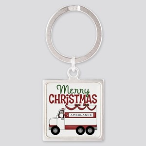 Merry Christmas Ambulance Square Keychain