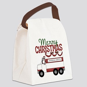 Merry Christmas Ambulance Canvas Lunch Bag