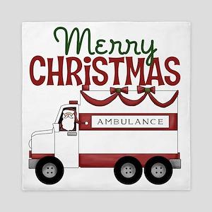 Merry Christmas Ambulance Queen Duvet