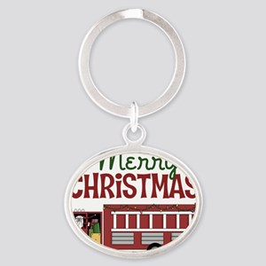 Merry Christmas Fire Truck Oval Keychain