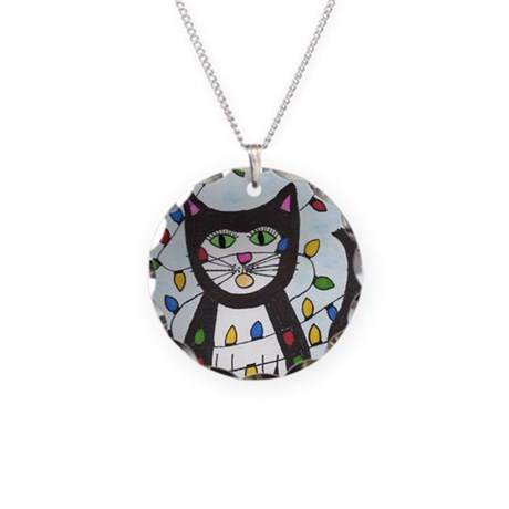 Cat in Christmas Lights Necklace Circle Charm