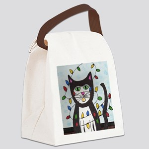 Cat in Christmas Lights Canvas Lunch Bag