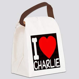 iheart_charlie_black Canvas Lunch Bag