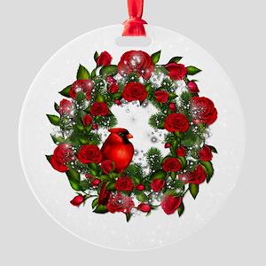 SPARKLING CARDINAL Round Ornament