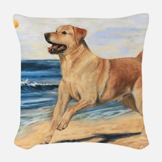 Lab on Beach Woven Throw Pillow