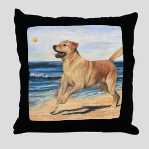 Lab on Beach Throw Pillow