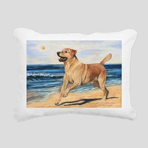 Lab on Beach Rectangular Canvas Pillow