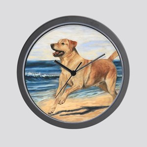 Lab on Beach Wall Clock
