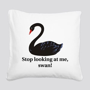swan Square Canvas Pillow
