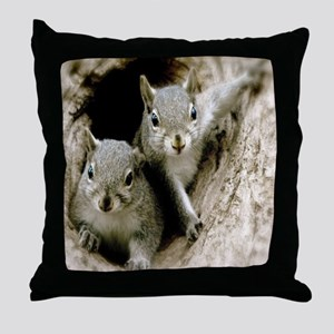 Baby Squirrels Throw Pillow