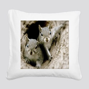 Baby Squirrels Square Canvas Pillow