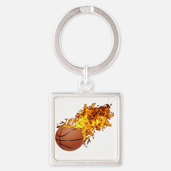 Flaming Basket Ball 2 Square Keychain