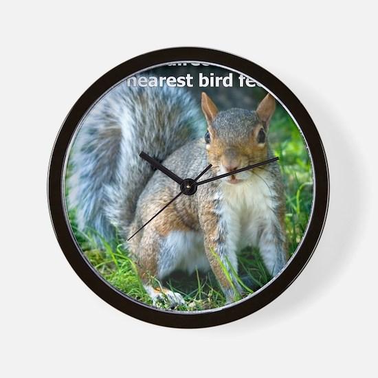 Squirrelbirdfourwithsig Wall Clock