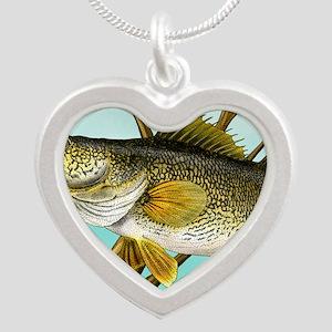 Walleye Silver Heart Necklace