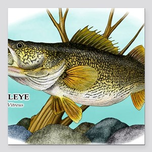 "Walleye Square Car Magnet 3"" x 3"""