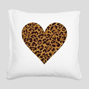 leopardheartpillow Square Canvas Pillow