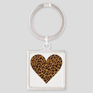 leopardheartpillow Square Keychain