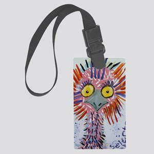 Ostrich In Pink Large Luggage Tag