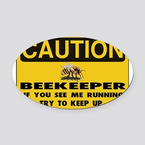 Caution Beekeeper Men Oval Car Magnet
