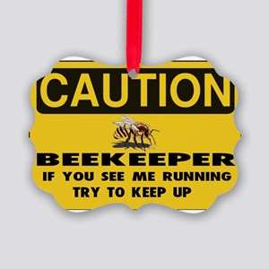 Caution Beekeeper Men Picture Ornament
