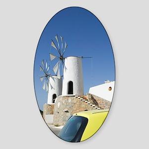 Ano Kera: Traditional Cretan Windmi Sticker (Oval)