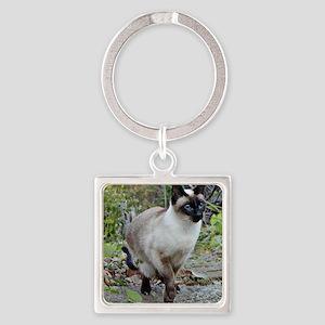 Siamese Cat Square Keychain