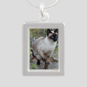 Siamese Cat Silver Portrait Necklace