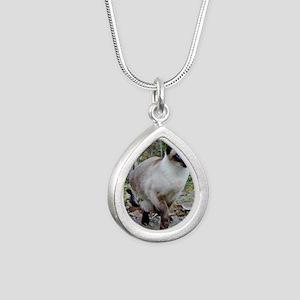 Siamese Cat Silver Teardrop Necklace