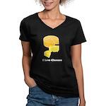I Love Cheeses Women's V-Neck Dark T-Shirt