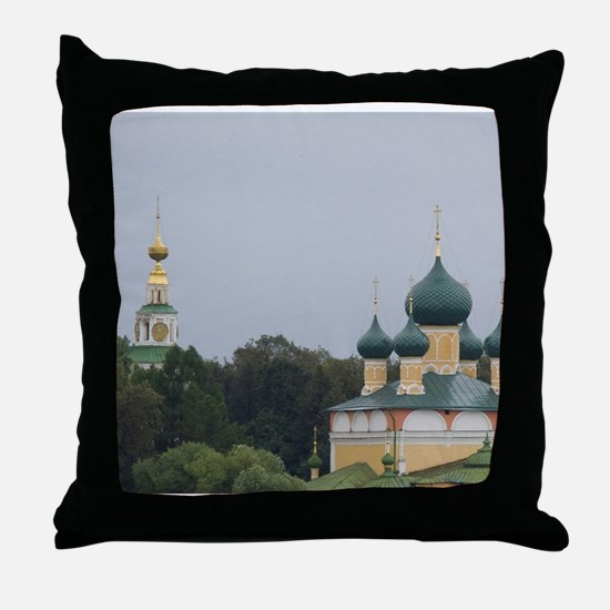 Golden Ring city of Uglich on the Vol Throw Pillow