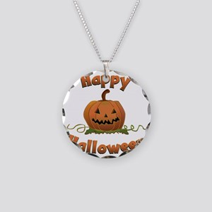 happy halloween Necklace Circle Charm