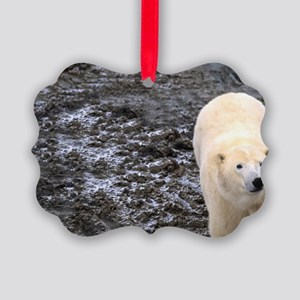 Polar Bear walking close to the b Picture Ornament