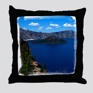 (16) Crater Lake  Wizard Island Throw Pillow
