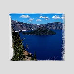(16) Crater Lake  Wizard Island Throw Blanket